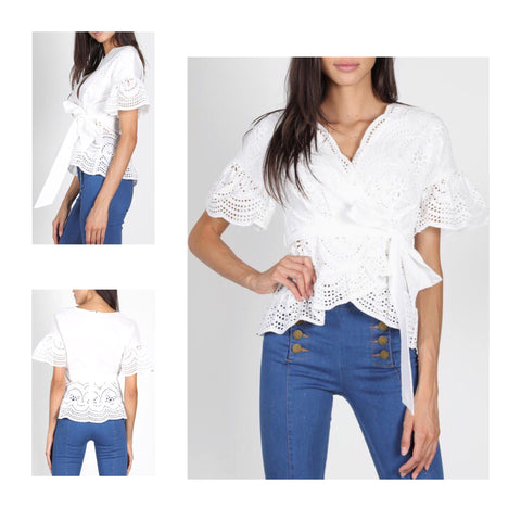White Eyelet Bell Sleeve Wrap Top with Tie Waist