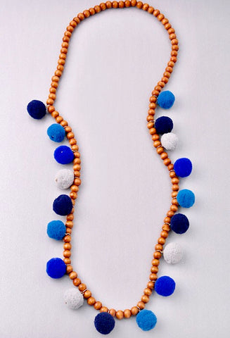 Wood Necklace with Blue Multi Pom Poms