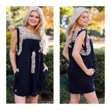 Black & Taupe Embroidered Textile Dress with POCKETS