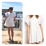 Ivory Dress with Wavy Eyelet Ruffle Sleeves