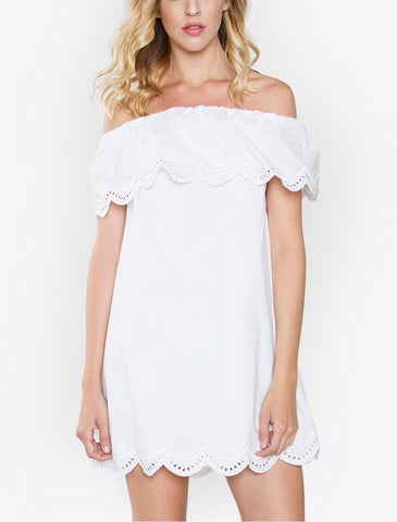 White Off the Shoulder Scallop Trim Dress with Eyelet Detail