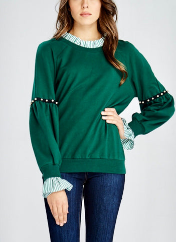 Green Contrast Layer Sweater with Ruffle and Pearl Accent Detail