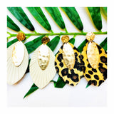 Hammered Gold Feather Earrings in Faux Leopard Hide, Snakeskin or Faux Leather