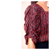 Wine Red & METALLIC GOLD Puff Sleeve Blouse with Pleated Back