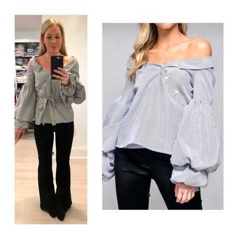 Black White Pinstripe Asymmetrical Off the Shoulder Balloon Sleeve Blouse with Self Tie Waist