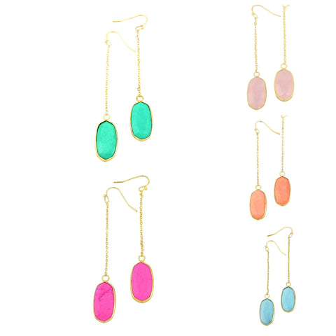 Gold Dangle Stone Earrings in Jade, Coral, Turquoise, Rose Quartz & Hot Pink