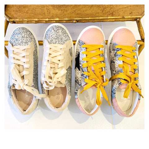 Blush Snake or Silver Glitter Designer Inspired Star Sneakers
