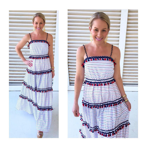 Red White & Navy Blue Stripe Tiered Maxi Dress with Tassels & RicRac Trim