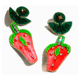 Handmade Beaded & Rhinestone Strawberry Earrings