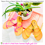 Neon Pink or Neon Yellow PU Leather Crisscross Sandals