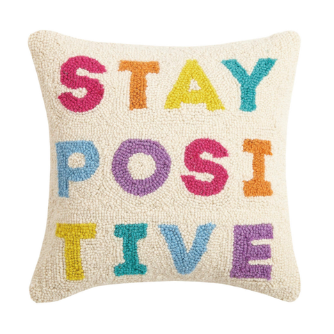 "Stay Positive 14"" Wool Hook Pillow with Velvet Back"