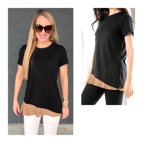Charcoal Short Sleeve Top with Taupe Asymmetrical Pleated Hem