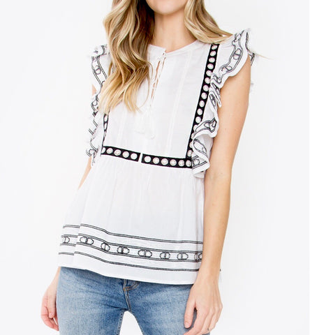 Black and White Sleeveless Frill Top with Tassel Tie
