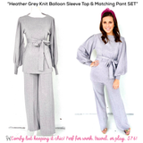 Heather Grey Knit Balloon Sleeve Top & Matching Pant SET