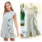 Sage Sleeveless Cascading Ruffle Hem Dress