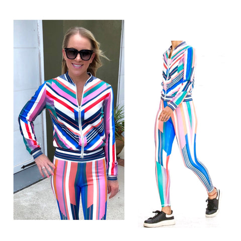 Rainbow Stripe Athletic Zip Front Jacket (Matching Pants Sold Separately)