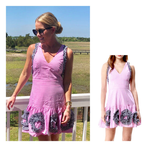 Pink Gingham Sleeveless A-Line Dress with Contrast Black Gingham Appliqués