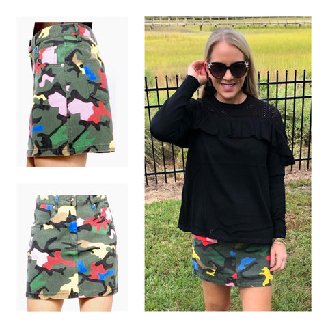 Multicolor Camo Denim Skirt