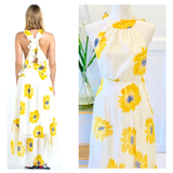 White Sunflower Print Swiss Dot Chiffon Hi-Lo Dress with Crisscross Flutter Back
