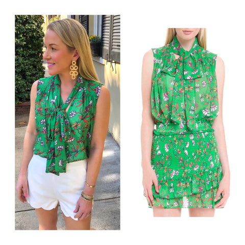 Light Emerald Green Button Down Floral Print Blouse with Self Tie Bow Tie