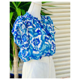 Grecian Blue & Aqua Floral Chiffon Stripe Top with Double Flutter Sleeves & Optional Tassel Tie