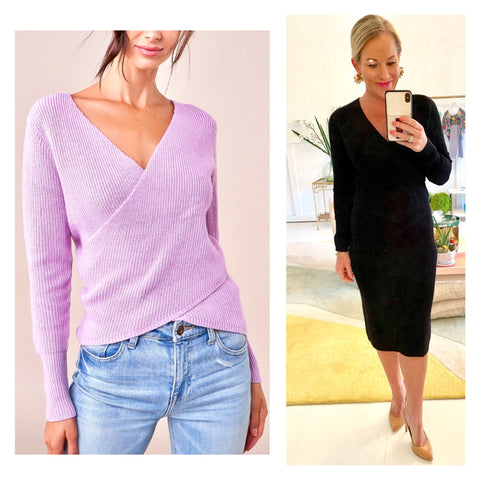 Black or Lavender Medium Weight Stretchy Ribbed Knit Crisscross V-Neck Sweater