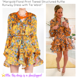 Marigold Floral Print Tiered Structured Ruffle Runway Dress with Tie Waist