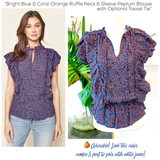 Bright Blue & Coral Orange Ruffle Neck & Sleeve Peplum Blouse with Optional Tassel Tie