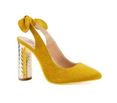 Mustard Mirrored Slingback Pump with Bow Slingback