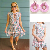 Baby Pink Floral Smocked Waist Dress with Keyhole Tassel Tie Front (the sweetest little dress!)