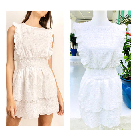 White Eyelet Smocked Waist Tiered Ruffle Dress with Keyhole Back