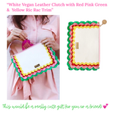 White Vegan Leather Clutch with Red Pink Green & Yellow Ric Rac Trim