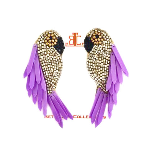 Handmade Purple Feather Beaded Parrot Earrings