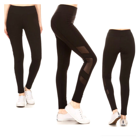 Black High Waisted Nylon Athletic Leggings with Mesh Panel