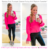 Barbie Pink Black OR Ivory Trumpet Sleeve Fuzzy Knit Peplum Sweater