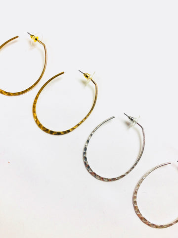 Hammered Matte Gold OR Matte Silver Oblong Hoops