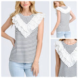 Ivory and Black Stripe Top with Eyelet Ruffle Bust