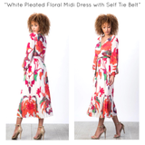 White Pleated Floral Midi Dress with Self Tie Belt