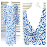 Blue & White Floral Sheer Balloon Sleeve Midi Dress with Open BOW Back