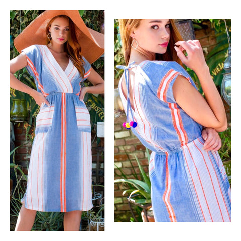 White Blue Neon Orange Stripe Midi Dress with Pom Pom Tassel Tie Back & Pockets