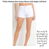 White Medium Rise Denim Shorts with Single Cuff Hem