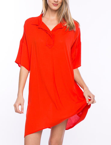 Orange Collared Shirt Dress