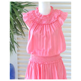 Flamingo Pink Accordion Ruffle Dress with Smocked Waist & Ruffle Hem