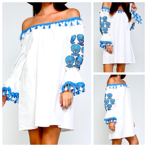 White Off the Shoulder Embroidered Tunic Dress with Turquoise Tassels