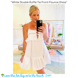 White Double Ruffle Tie Front Flounce Dress
