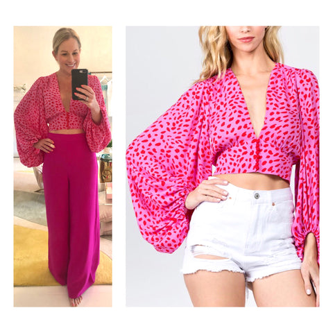 Hot Pink & Poppy Red Spots Bishop Sleeve Button Down Top