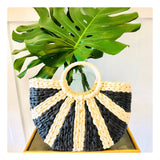 Handmade Black & Tan Straw Sunburst Tote