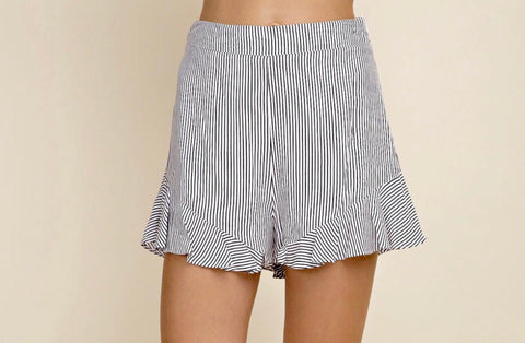 Black White Striped Flutter Hem Shorts with Side Zip