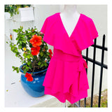 Fuchsia Layered Ruffle Cape Tie Waist Romper with Open Back & A-Line Fit