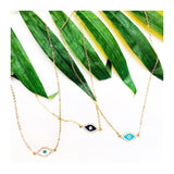 Rhinestone Evil Eye Necklaces in White, Turquoise or Navy